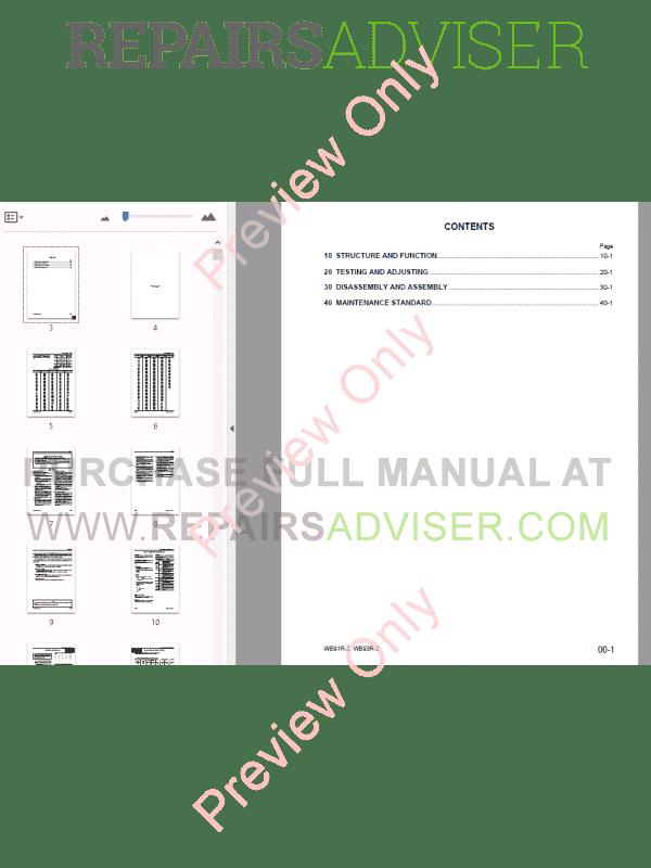 Komatsu WB91R-2, WB93R-2 Backhoe Loader Shop Manual PDF