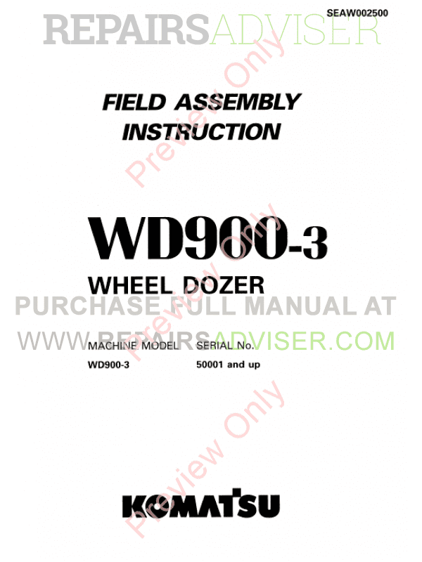 Komatsu WD900-3 Wheel Dozer Shop Manuals & Field Assembly