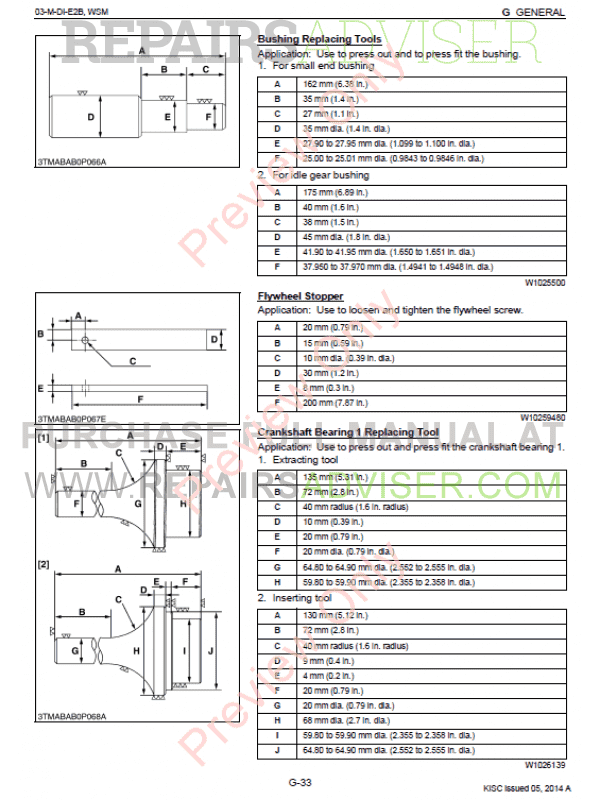Kubota 03-M-DI-E2B Series Diesel Engine Workshop Manual