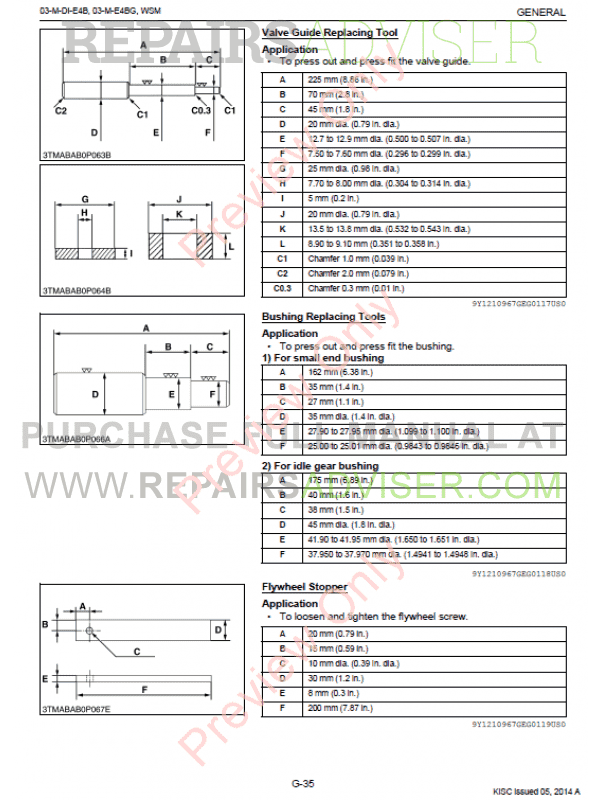 Kubota 03-M-DI-E4B, 03-M-E4BG Diesel Engines Workshop Manual