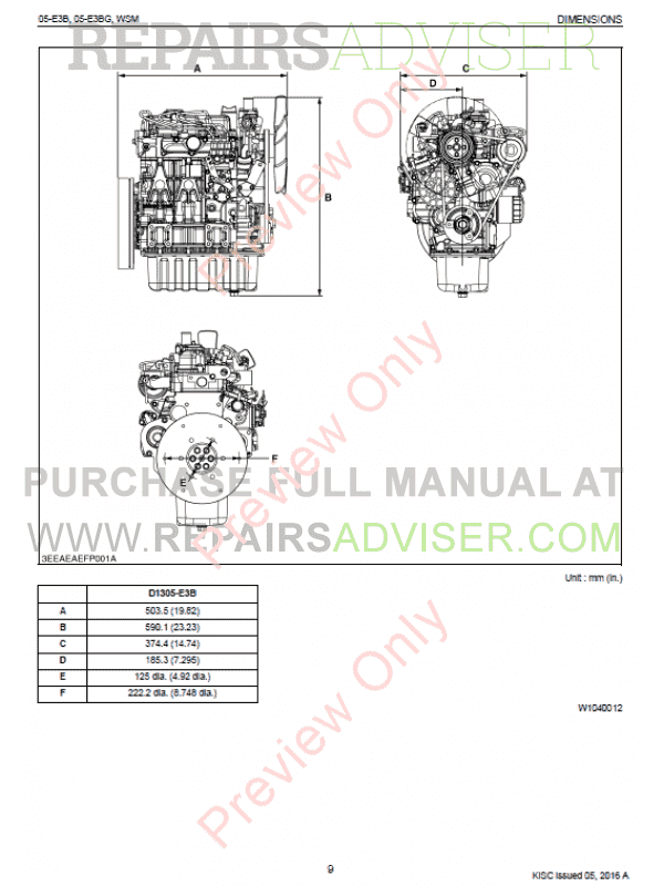 Kubota 05-E3B, 05-E3BG Diesel Engines Workshop Manual Download