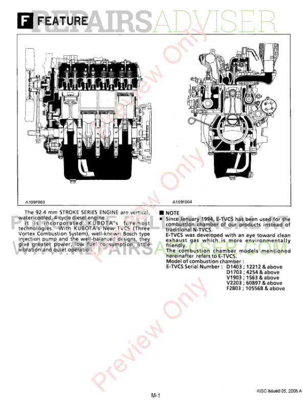 Kubota 92.4mm Stroke Series Diesel Engine Workshop Manual PDF