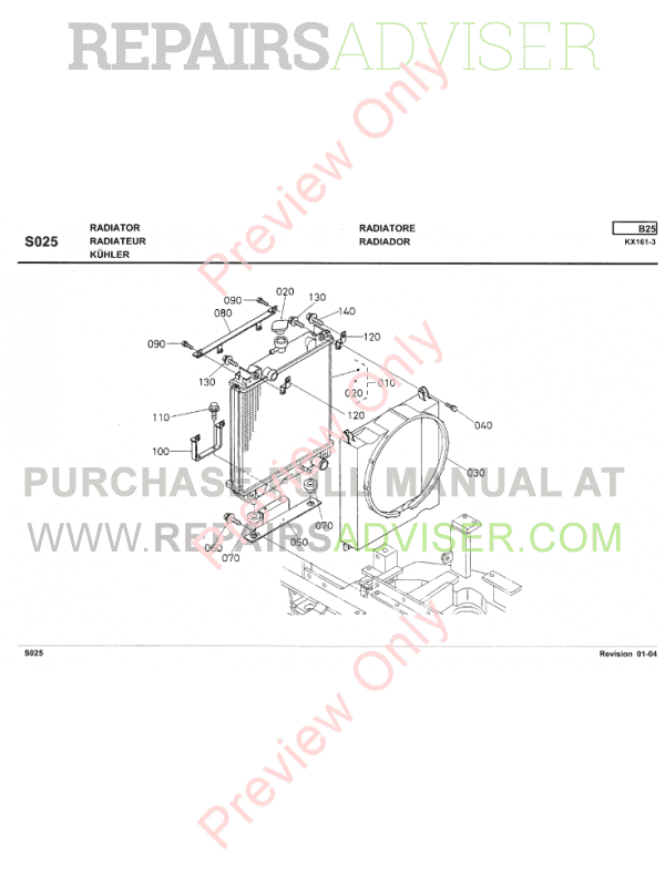 Kubota Excavator KX161-3 Illustrated Parts List PDF Download