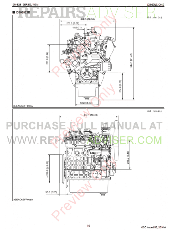 Kubota SM-E2B Series Diesel Engines Workshop Manual 9Y011