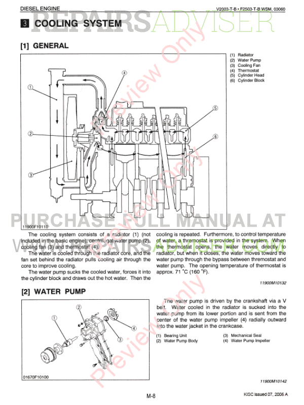 Kubota V2003-T-B, F2503-T-B Diesel Engines Workshop Manual