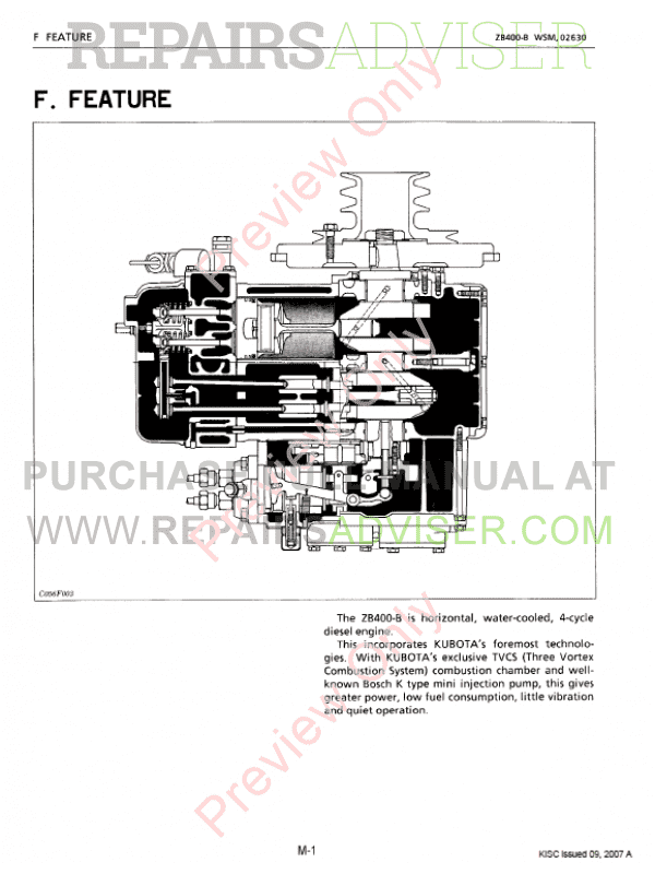 Kubota ZB400-B Diesel Engine Workshop Manual 9Y011-02630