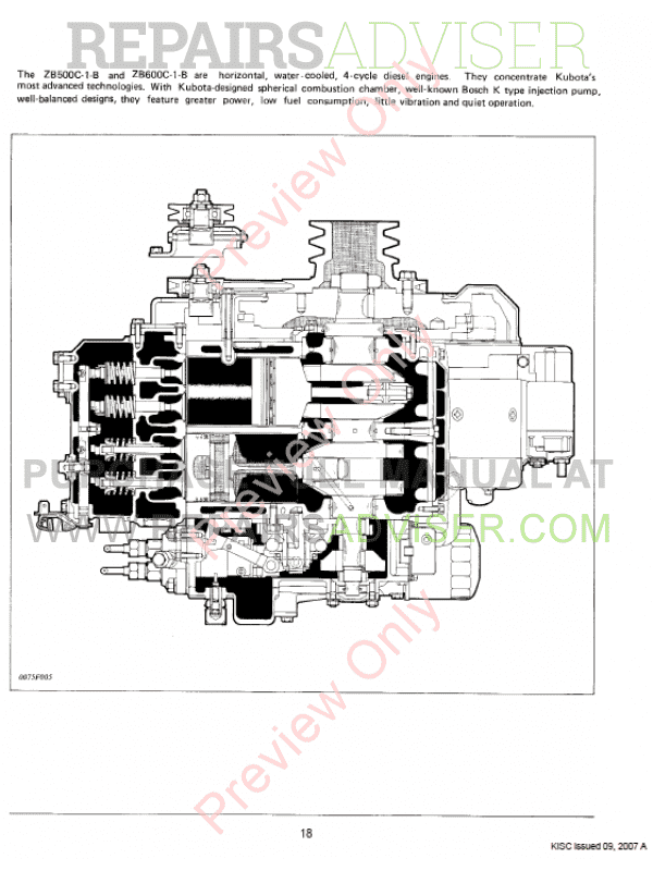 Kubota ZB500/600C-1-B Diesel Engines Workshop Manual PDF