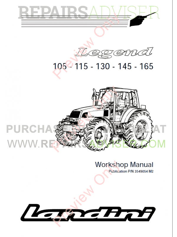 Landini Legend 105-115-130-145-165 Tractors Workshop