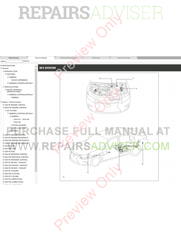 Lexus ES200, ES250, ES350 Repair Manual 07/2015 Download