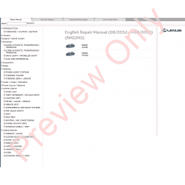Lexus CT200h Repair Manual from models 12/2010-11/2013