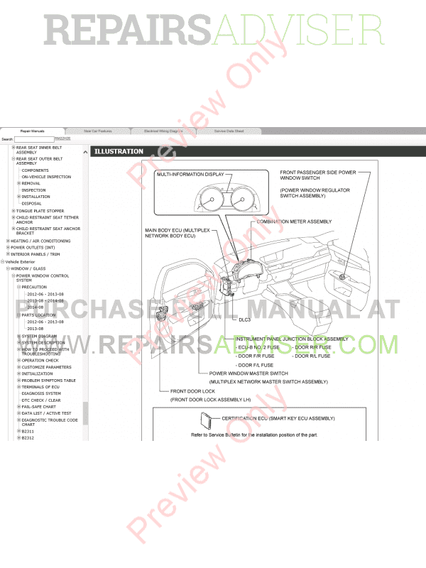 Lexus ES250/ES350 Repair Manual 06/2012-06/2015 Download