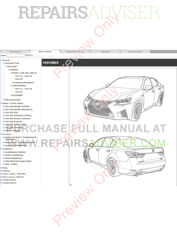 Lexus GS F Repair Manual 10.2015 Download
