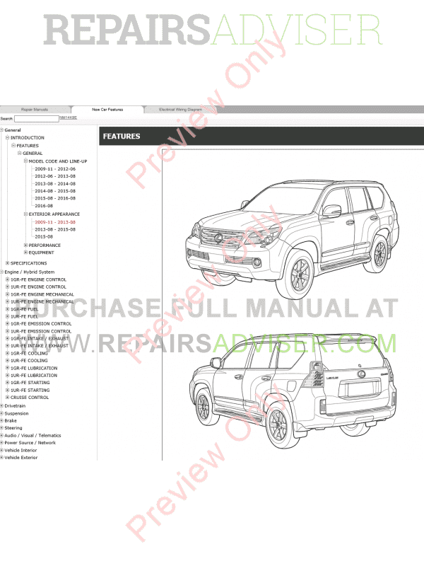 Lexus GX460 Repair Manual 11/2009 Download
