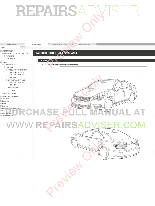 Lexus LS460 Repair Manual 09.2012-08.2015 Download