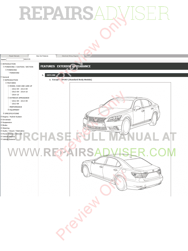 Lexus LS600h Repair Manual 09.2012-08.2015 Download