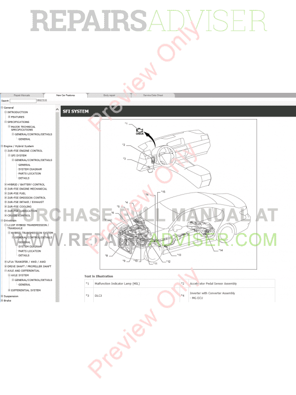 Lexus LS600h Repair Manual 09.2015 Download