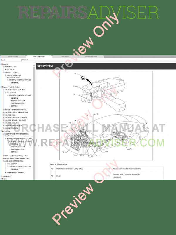 Lexus LS600h Repair Manual 09.2015 Download