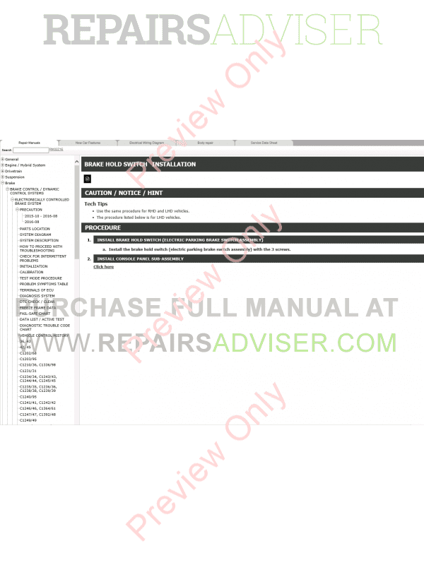 Lexus RX450h (GYL25) Repair Manual 2015 Download