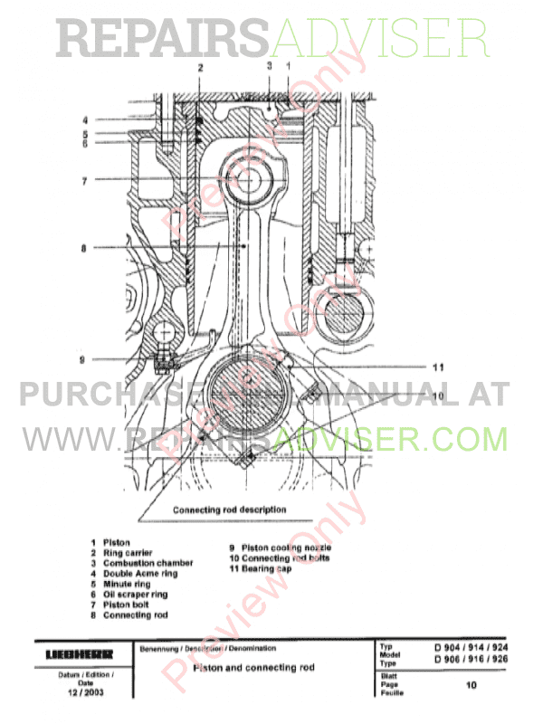 Liebherr D 904/906, D 914/916, D 924/926 Engines Service