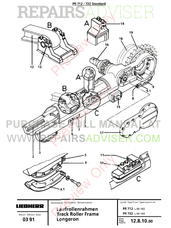 Liebherr PR 712-752 Crawler Dozers Service Manual PDF Download