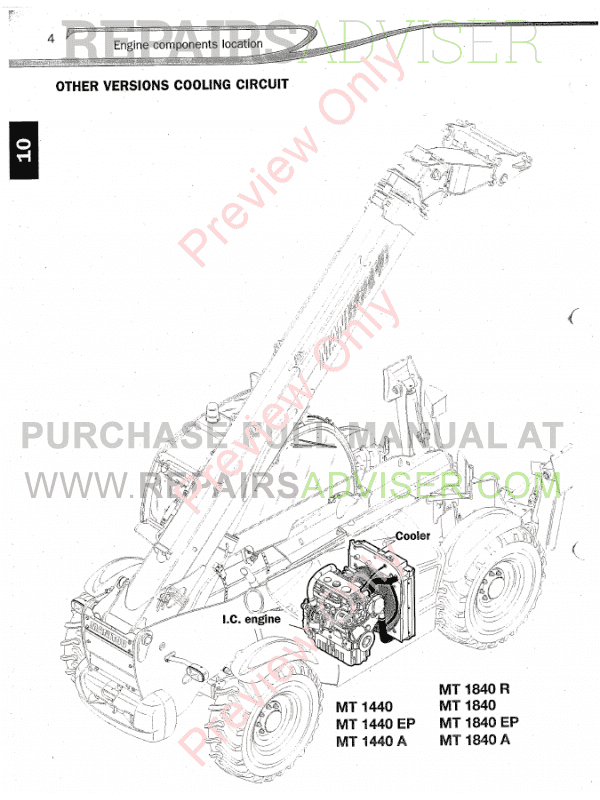 Manitou Telehandler MT1840 Workshop Repair Manual Download PDF