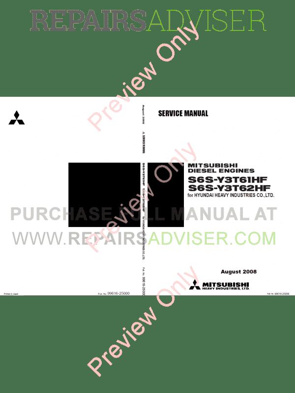 Mitsubishi Diesel Engines S6S-Y3T61/62HF for Hyundai
