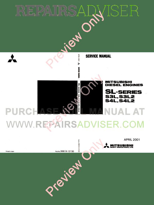 Mitsubishi Diesel Engines SL-series Service Manual PDF