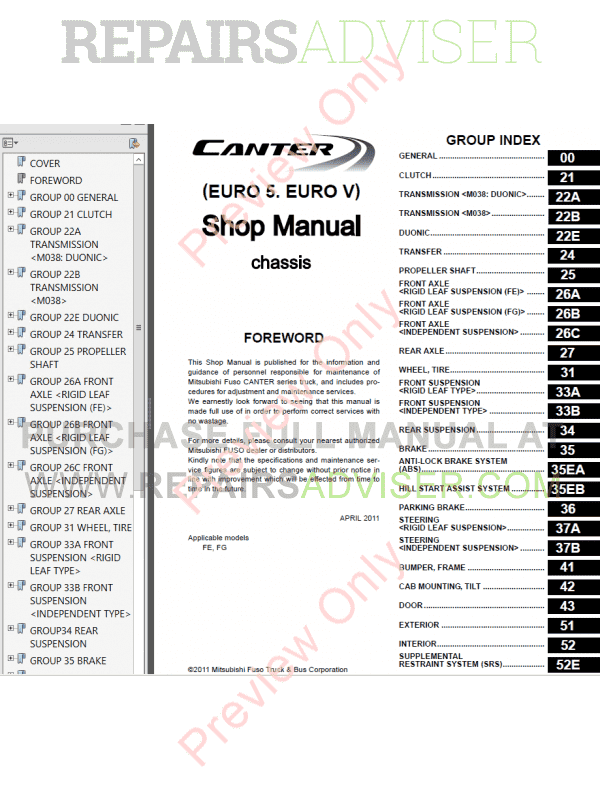 Mitsubishi FUSO Canter (EURO 5) PDF Shop Manuals for