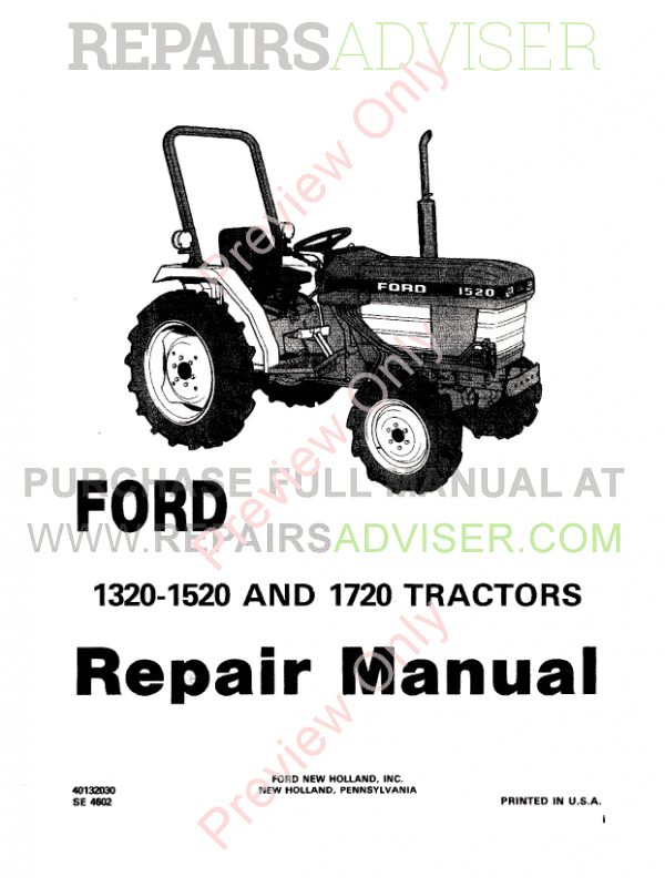 New Holland Ford 1320, 1520 and 1720 Tractors Repair Manual