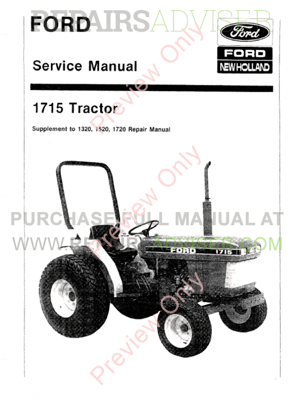 New Holland Ford Tractor 1715 Service Manual PDF