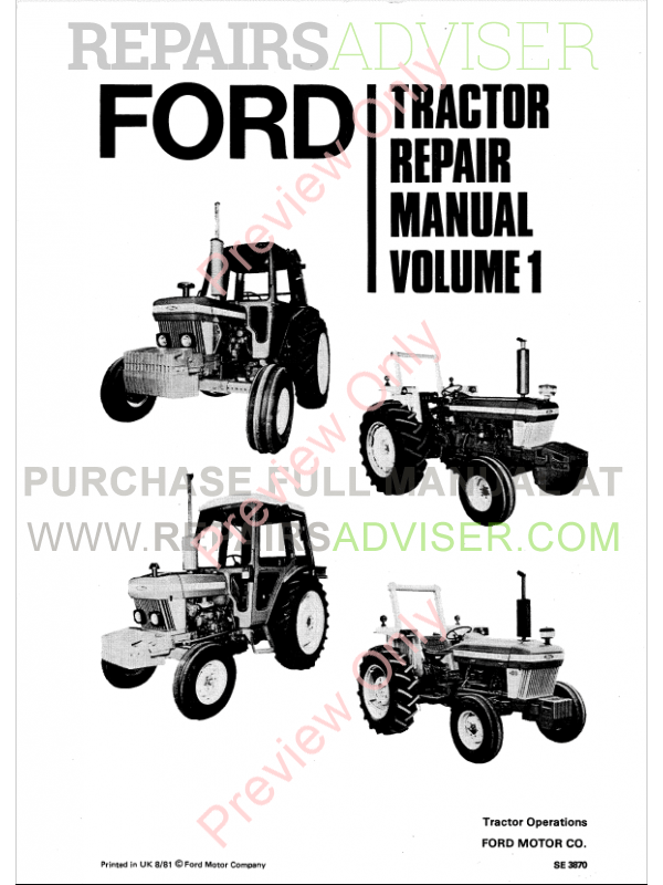 New Holland Ford Series 10 Tractor Repair Manual Download
