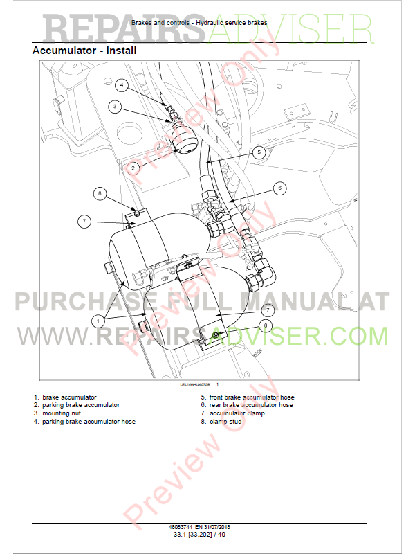 New Holland W130D, W170D Tier2 Wheel Loader Service Manual