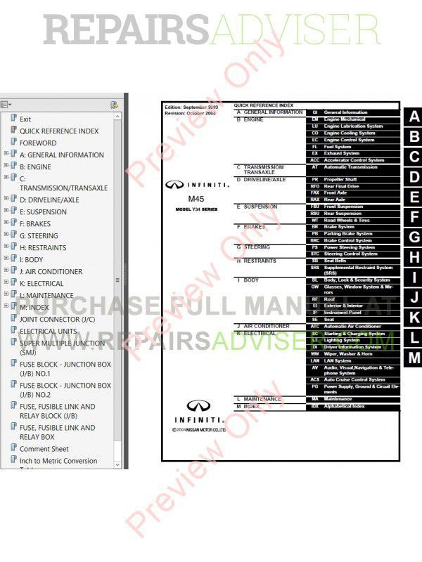 Nissan Infinity Y34 Series M45 Service Manual PDF Download