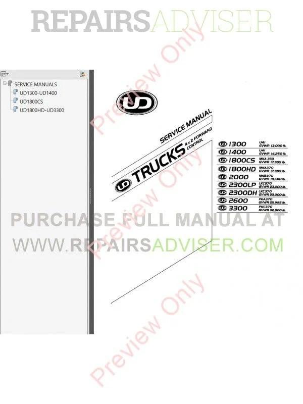 Nissan UD Trucks 4x2 Forward Control 2005-2007 Service