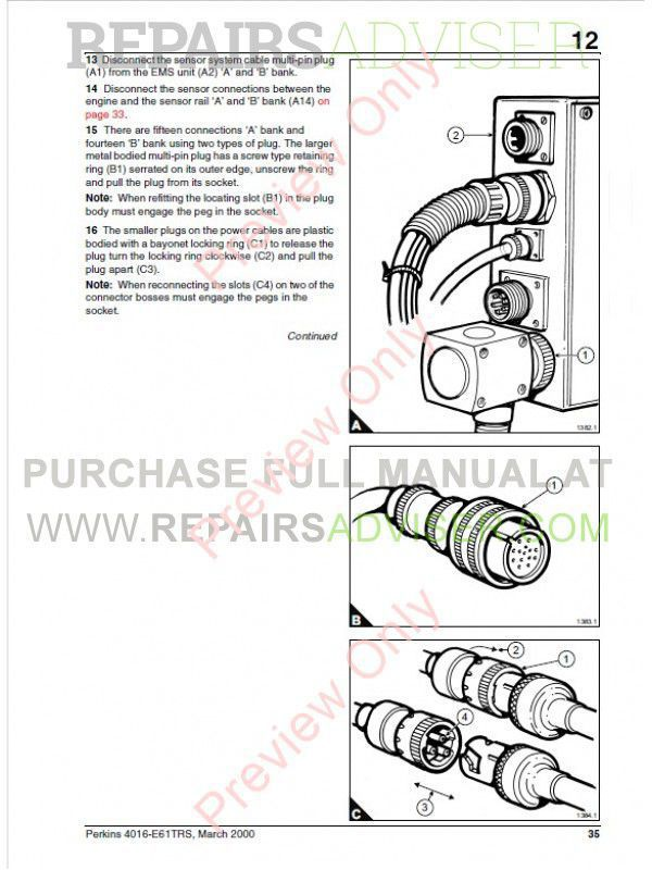 Perkins 4016-E61TRS Engine Workshop Manual PDF Download