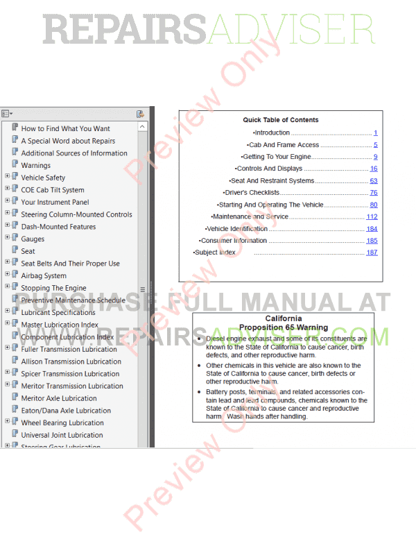 Peterbilt Model 362 Operator s Manual PDF Download