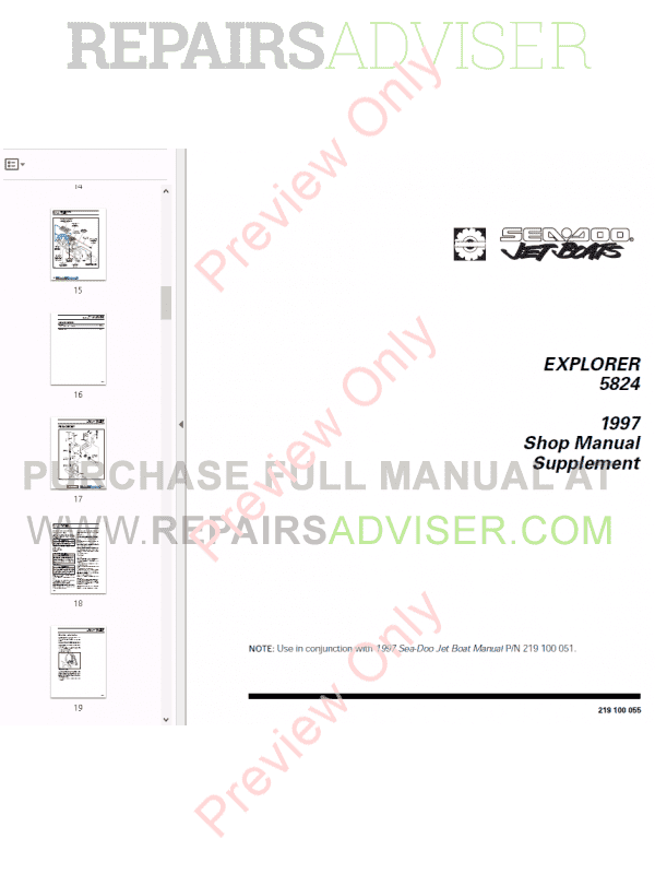 Sea Doo Jet Boat Challenger 1800 Repair Manual Technical Publication