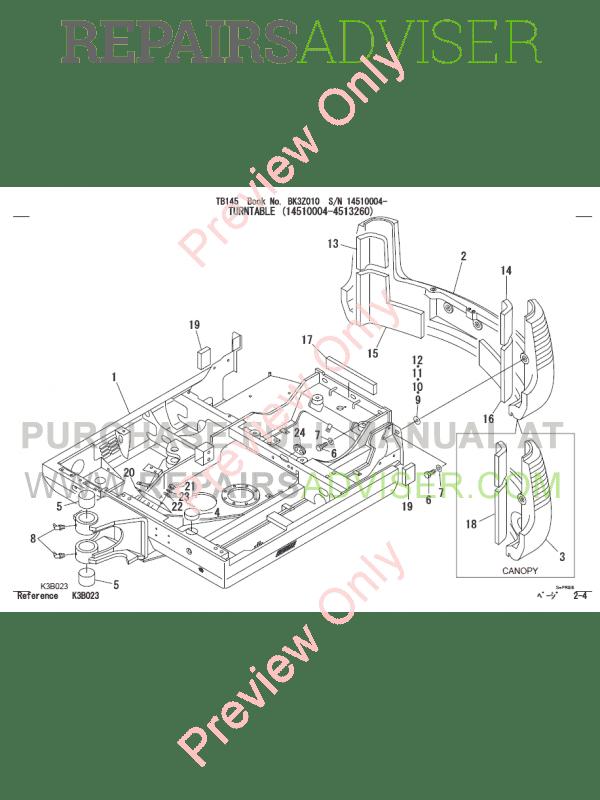 Takeuchi TB145 Excavator Parts Manual PDF
