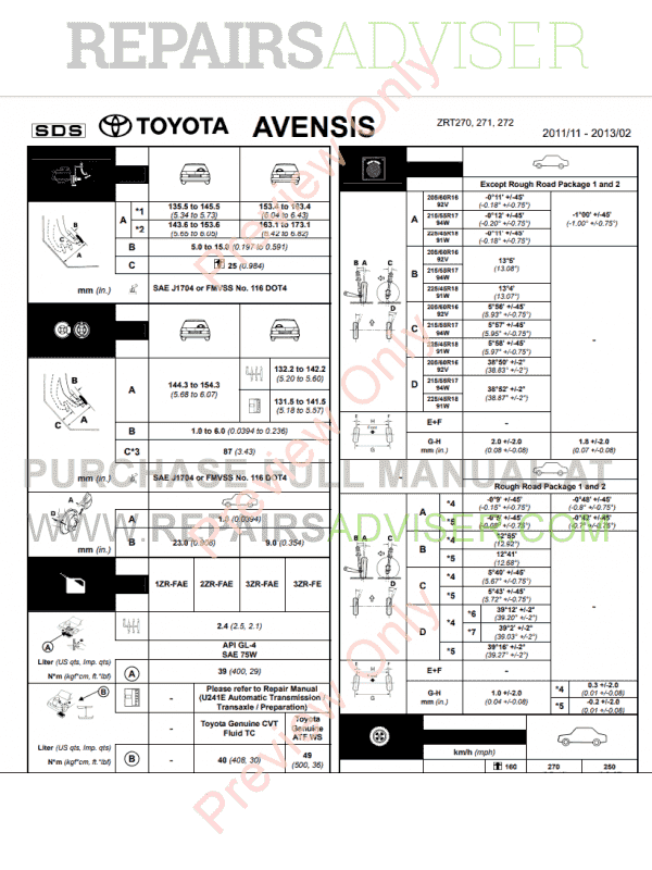 Toyota Avensis Petrol AZT270, ZRT270, ZRT271, ZRT272 RM11R3