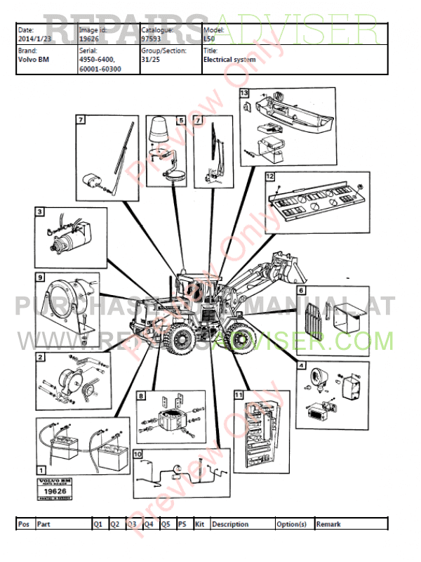 Volvo BM L50 Wheel Loader Parts Manual PDF