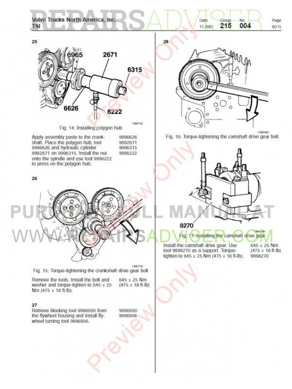 Volvo D12 D12A D12B D12C Engine Service Manuals PDF Download