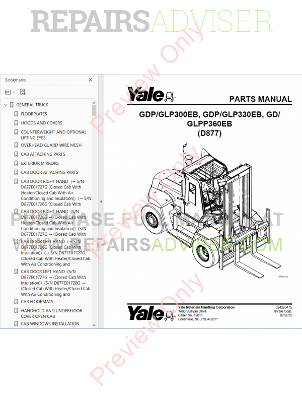 Yale Industrial Trucks PDF Parts Manuals 2017 for USA
