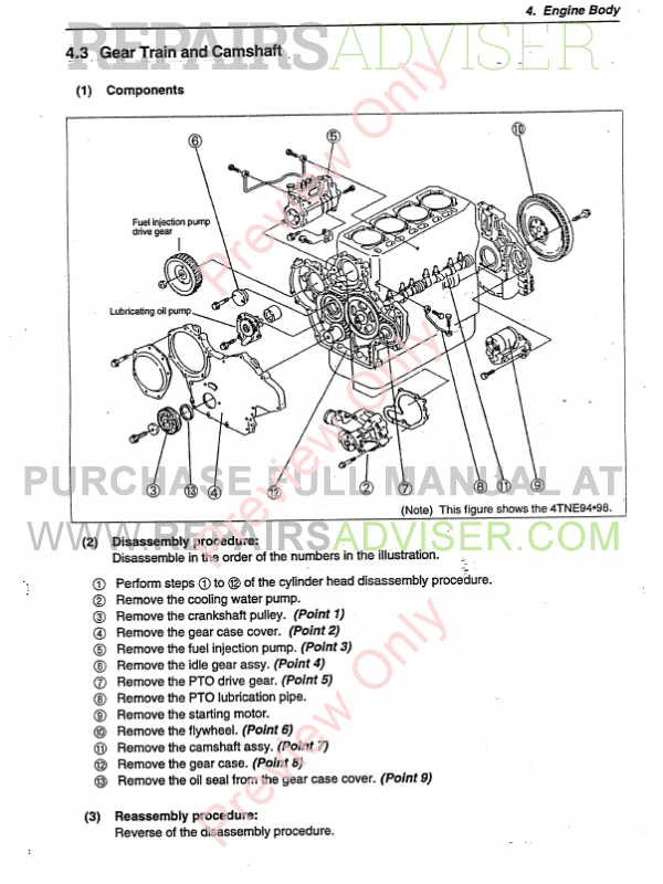 Yanmar Base Engine 4TNE Series for Hyundai Equipment Manual