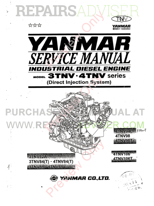 Yanmar Engine Base 3TNV-4TNV for Hyundai Equipment Manual