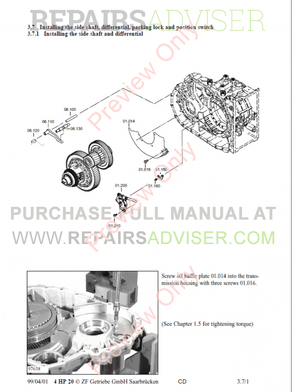 ZF 4HP-20 Transmission Repair Manual PDF Download