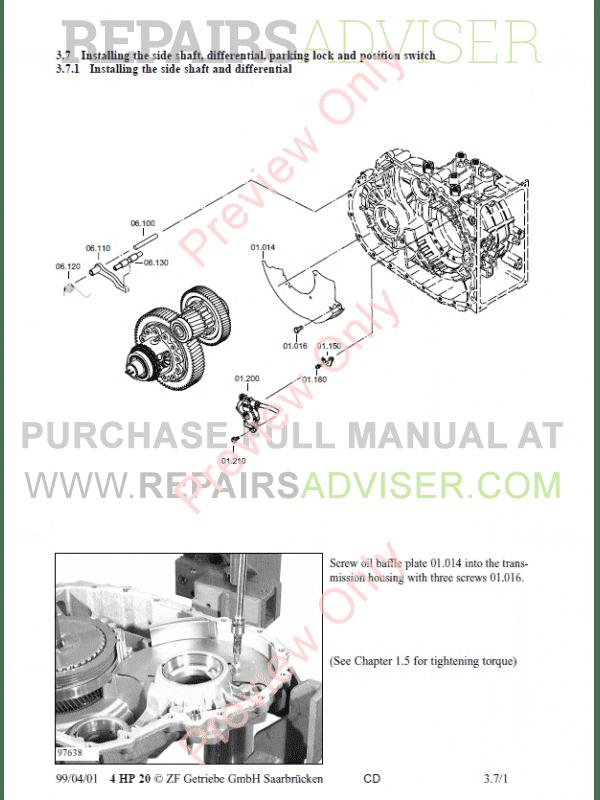 ZF 4HP-20 Transmission Repair Manual PDF Download