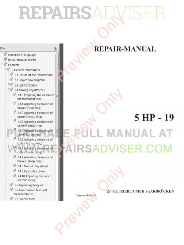 ZF 4HP22 6HP26 5HP19 5HP24 5HP30 Transmission PDF Manuals