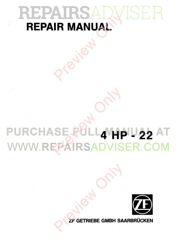 ZF 4HP22 Transmission Repair Manual Download