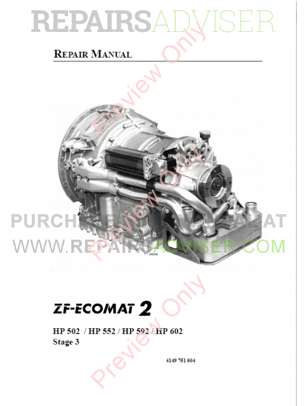 ZF Ecomat 2 HP502, HP552, HP592, HP602 Repair Manual PDF