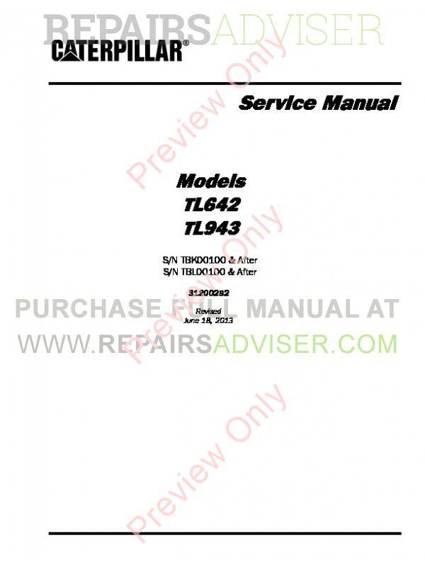 Caterpillar TL642 & TL943 Service Manual PDF Download